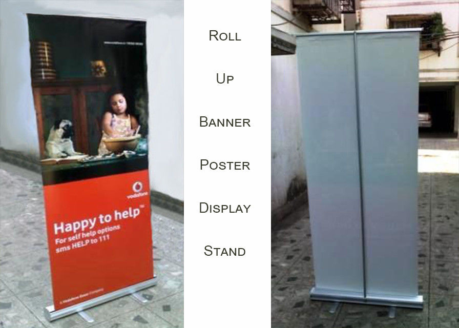 Aluminum Roll Up Poster Display Stand For Office And Bank Printing Banner