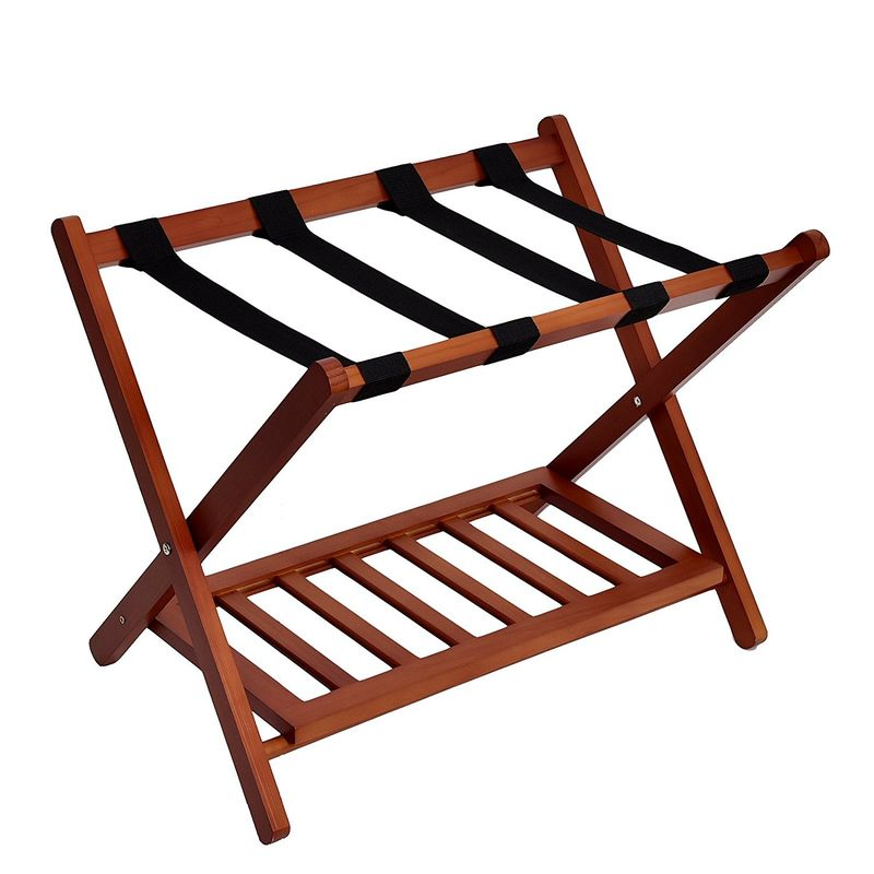 Wood Color Display Folding Luggage Rack , OEM Hotel Metal Luggage Rack