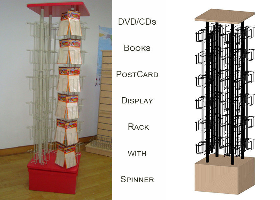 96 Pockets Floor Spinner Display Rack , Top Graphict Greeting Card Spinner Stands
