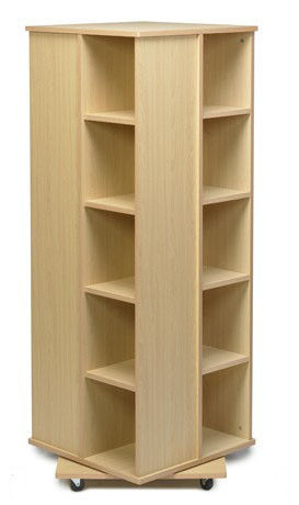 4 Sides Books Cabinet Home Display Rack MDF Spinner Storage W50 X D50 X H176cm